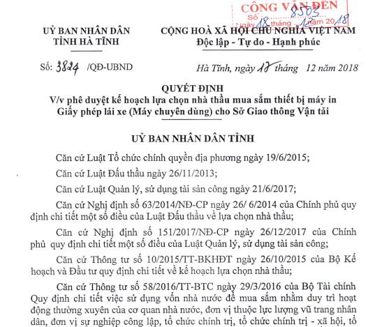Quyết định phê duyệt KH lựa chọn nhà thầu mua sắm thiết bị máy in GPLX