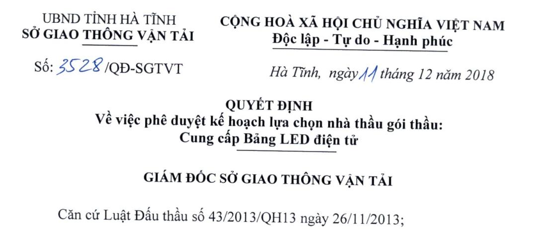 Quyết định phê duyệt KH lựa chọn nhà thầu gói cung cấp Bảng LED điện tử